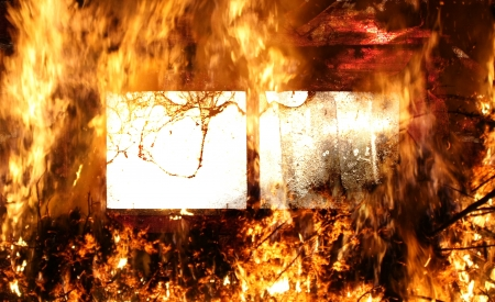 window to hell covered with flames abstract background  Stock Photo