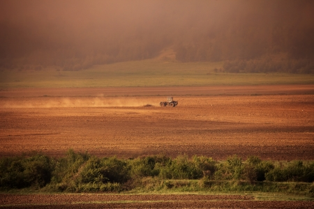 vintage agriculture panoramic background in autumn time photo