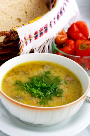 delicious soup with fresh parsley on the top Stock Photo