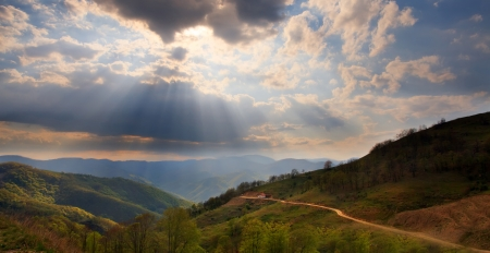 lightrays: panoramic mountain scenery landscape in bulgarian Rhodopes