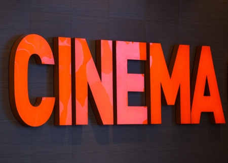 cinema text on wall in modern building  Stock Photo
