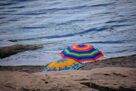 umbrela: summer beach umbrela in bulgarian village of Ravda