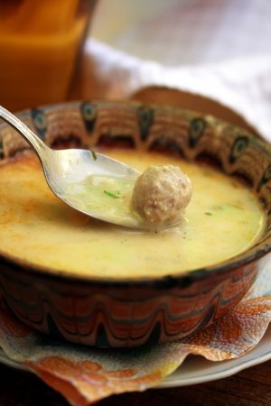 traditional bulgarian meat bowl soup