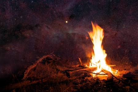 survival: abstract night sky with many stars and camp fire- elements of this image furnished by NASA