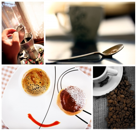 breackfast: home made coffee and breackfast conceptual collage from several image