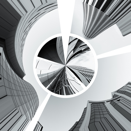 contemporary collage of diferent black and white  architectural detail of buildings