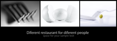 baner: abstract diferent conceptual food collage for baner or menu design  Stock Photo