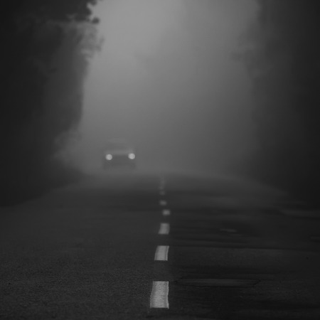 abstract black and white foggy road  photo