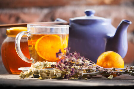 hot herbal tea with lemon  photo