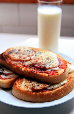 breackfast: home made sandwich and milk for breackfast