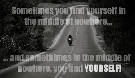 inspirational unknown quote with motorbike in black and white