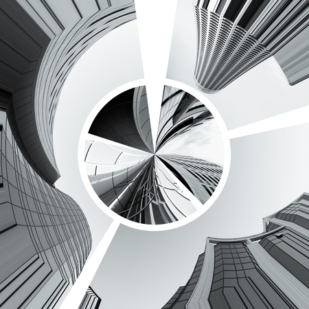 contemporary collage of diferent black and white  architectural detail of buildings photo