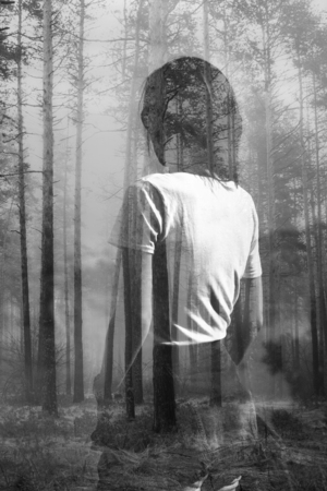 Abstract black and white double exposure portrait of woman in forest Stockfoto