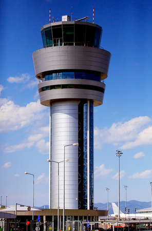 airport control tower and  airplane