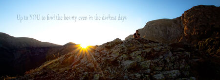unknown inspirational quote background, mountain sunset and man stand on clift, motivational text above Stock Photo