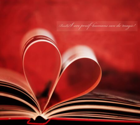 love abstract: inspirational loving books unknown quote and book in shape of heart Stock Photo