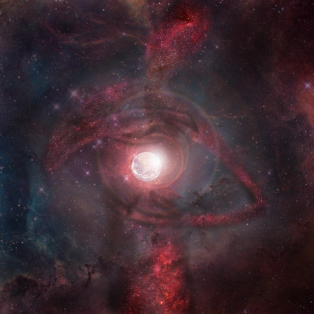 Abstract sci-fi background - glowing planet, nebula and stars in space, extraterrestrial intelligence guard planet like earth. Elements of this image furnished by NASA