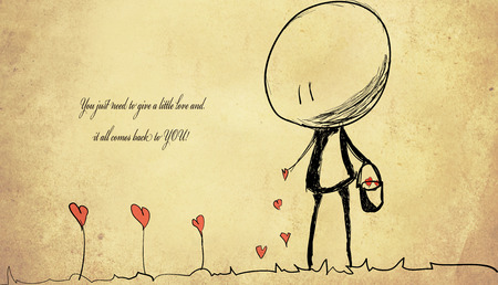muted: unknown love quote background with drowing hearts and small cute man Stock Photo