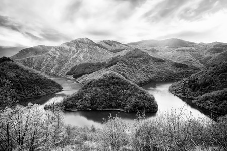 contrasted: black and white high contrasted nature background in bulgarian mountains