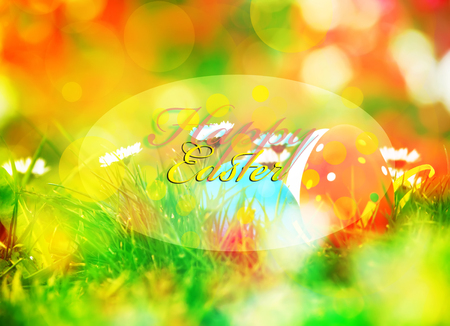 ostern: colorful easter background with happy easter text, soft colored and focused Stock Photo