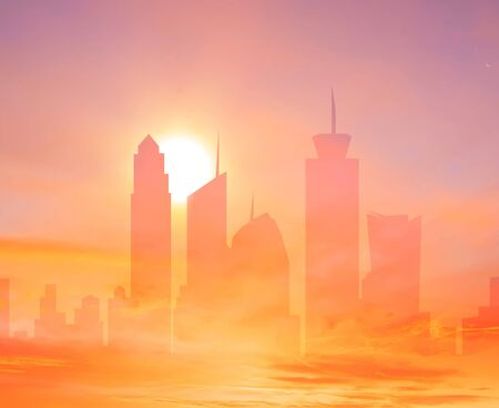 Colorful city double exposure background with rising sun over the sky towers photo