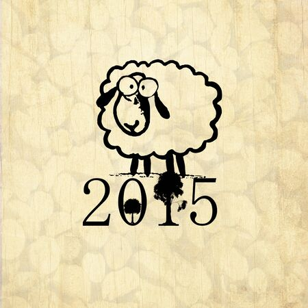 year of sheep: Chinese New Year greeting card with symbol of 2015 - cute drawing sheep and with wood background.