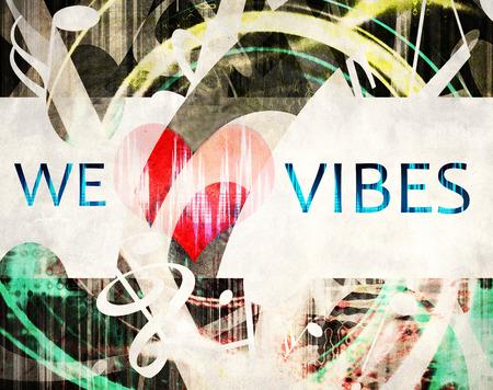 simbols: grunge we love vibes illustration,  heart and manny shaped music simbols, abstract love music wallpaper Stock Photo