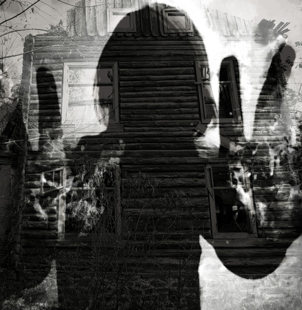exorcist: abstract ghost silhouette, double exposure horor background