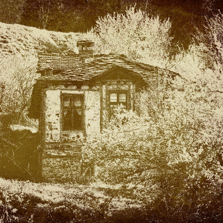 old vintage house in the forest skatch digital created painting photo
