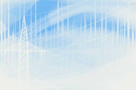 abstract blue and white electrisity conceptual illustration with shape of pylon and fractal waves