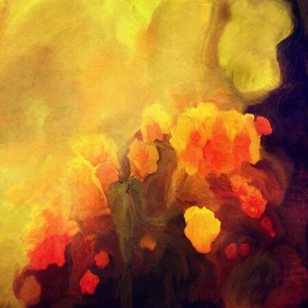 splashed: yellow and red flowers abstract splashed oil painting background
