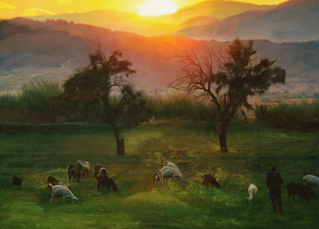 pastoral: pastoral autumn oil paint representing sunset over the farmland Stock Photo