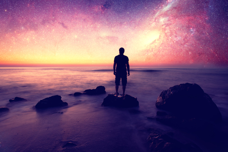 Follow your dreams, silhouette of man and many stars- elements of this image are furnished by NASA Stok Fotoğraf