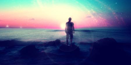 imagen: Siga sus sue�os, silueta del hombre y muchas estrellas, sol naciente en la playa, los elementos Paisaje- alien�genas de esta imagen son proporcionados por la NASA Foto de archivo