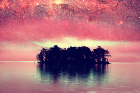 alien landscape: red alien landscape with alone island over the night sky with many stars - elements of this image are furnished by NASA