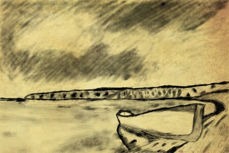 diving platform: vintage textured drawing with pen, boat at the lake