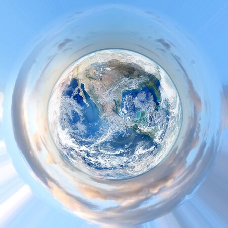 green little planet earth: small planet earth- little stereographic globe- elements of this image furnished by NASA