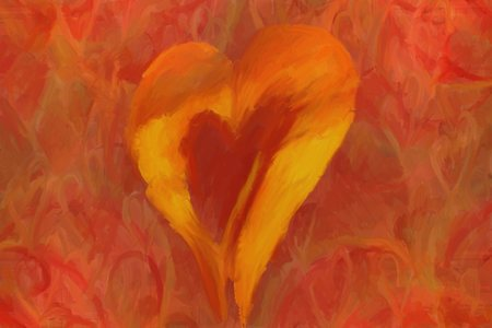 dominant color: oil painted heart love background for valentine card or invitation, red dominant color