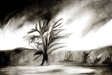 spoiled frame: abstract grunge sketch illustration with single tree in the field