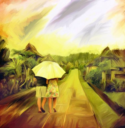 picturesque: love couple walk in rainy day, watercolor art digital painting