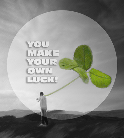 unknown men: abstract background with man holding big clower, unknown luck quote added