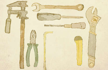 lay: vintage tools flat lay illustration, space for sample text Stock Photo
