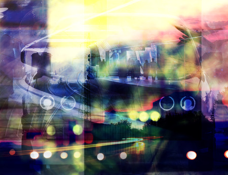 trafic: abstract double exposured urban background, paintings and pictures mixed media used, night city trafic colorful abstract