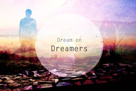 dream on dreamers quote background with several peopple silhouette Stock Photo