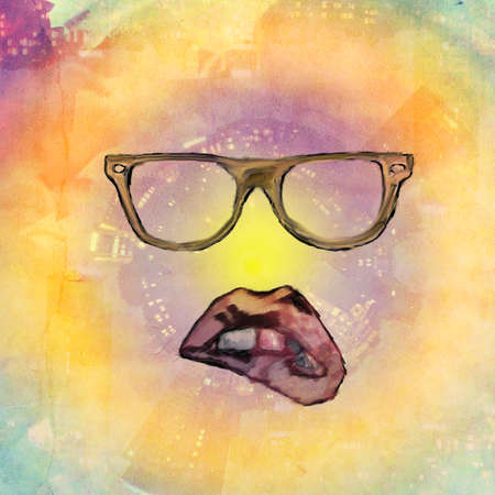 black woman face: hipster urban background with glass and painted woman lips