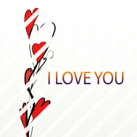 watercolor painted love card design from shapes and hearts- i love you text added