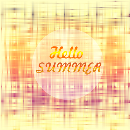 dominant: hello summer poster design, golden and red dominant colors