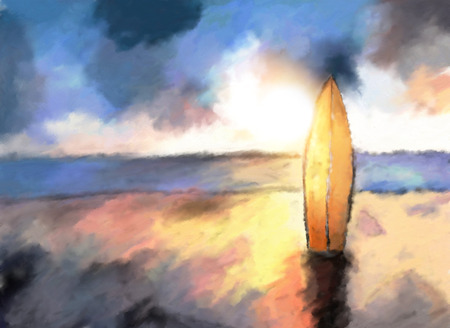manmade: surf on the ocean beach, dramatic sunset colors, watercolor painted illustration Stock Photo