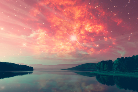 misterious: red alien sky with manny stars over the misterious lake