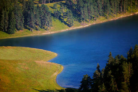 autmn: flatlay view of autmn lake in bulgarian mountains